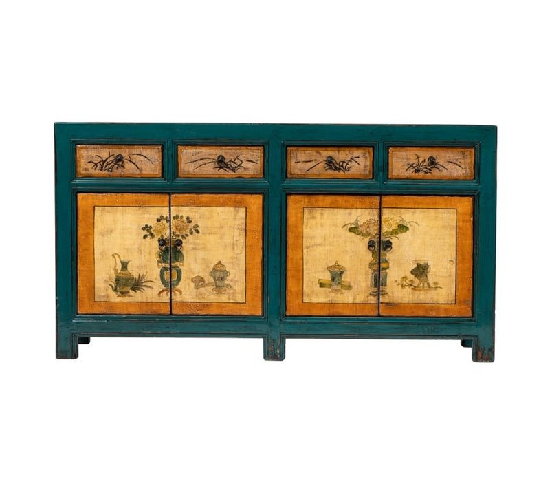 Antikes Chinesisches Sideboard Kommode Handbemalte Blumen Blau Orange B165xT45xH86cm