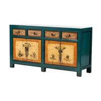 Antieke Chinese Dressoir Bloemen Blauw Oranje Handgeschilderd  B165xD45xH86cm