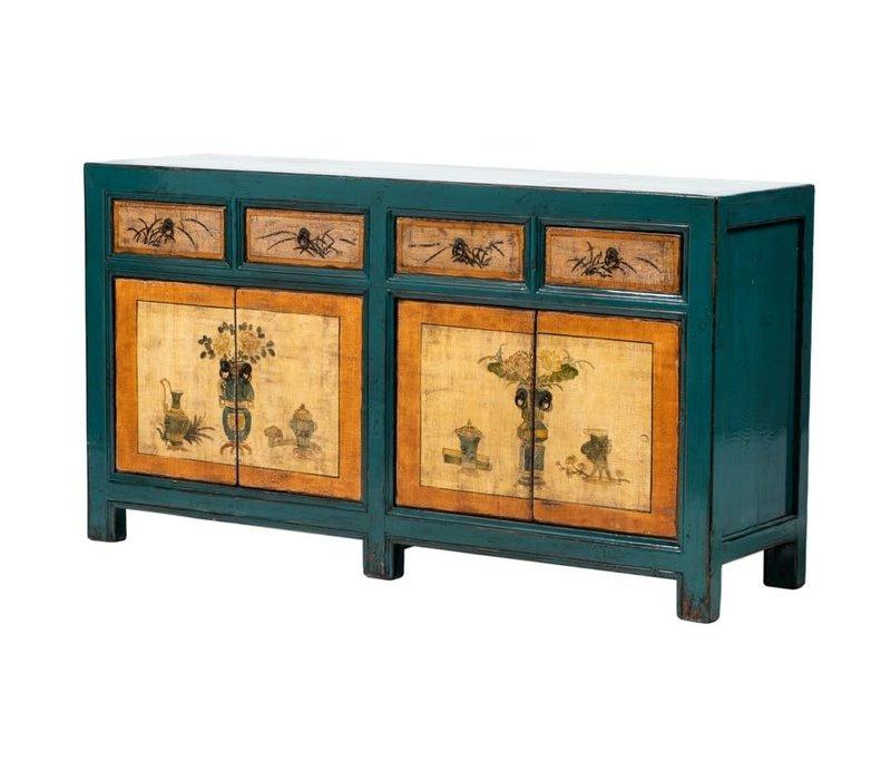 Buffet Chinois Antique Fleurs Peintes à la Main Bleu Orange L165xP45xH86cm