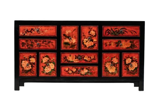Fine Asianliving Antique Chinese Chest of Drawers Handpainted Flowers W160xD45xH87cm