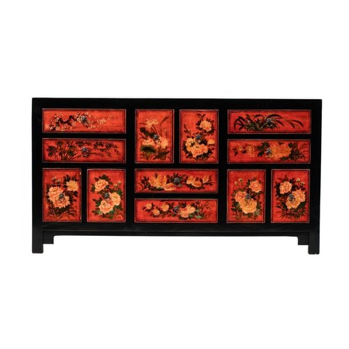 Fine Asianliving Antique Chinese Chest of Drawers Hand-painted Flowers W160xD45xH87cm
