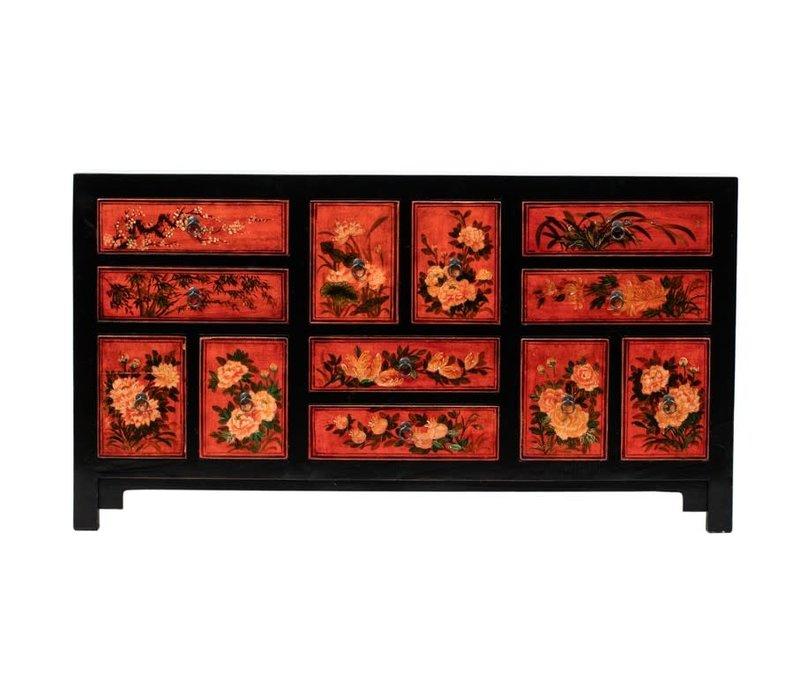 Antieke Chinese Ladenkast Bloemen Handgeschilderd B160xD45xH87cm