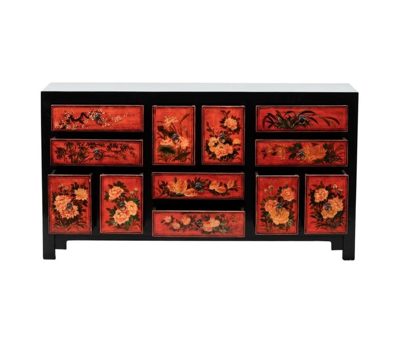 PREORDER 28/12/2020 Antique Chinese Chest of Drawers Handpainted Flowers W160xD45xH87cm