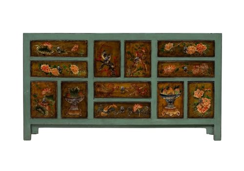 Fine Asianliving Antique Chinese Chest of Drawers Handpainted Flowers Mint W160xD45xH87cm
