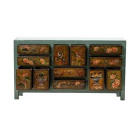 PREORDER 28/12/2020 Antique Chinese Chest of Drawers Handpainted Flowers Mint W160xD45xH87cm