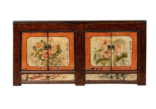 Fine Asianliving Antikes Chinesisches Sideboard Kommode Handbemalte Blumen B160xT45xH87cm