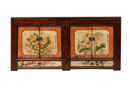 Fine Asianliving Antique Chinese Sideboard Handpainted Flowers W160xD45xH87cm