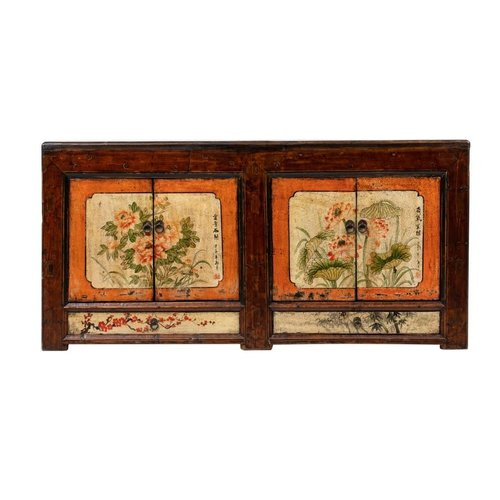 Fine Asianliving Antique Chinese Sideboard Hand-painted Flowers W160xD45xH87cm