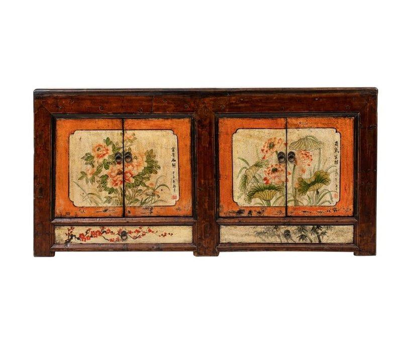 Credenza Cinese Antica Fiori Dipinti a Mano L160xP45xA87cm