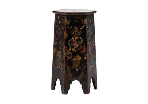 Fine Asianliving Antieke Tibetaanse Plantentafel Draken Handgeschilderd B45xD45xH81cm