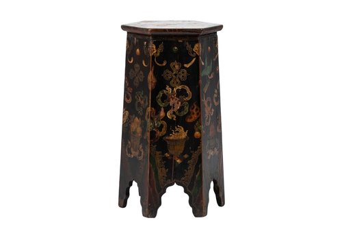 Fine Asianliving Antique Tibetan Plant Stand Hand-painted Dragons W45xD45xH81cm
