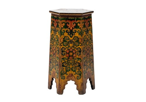 Fine Asianliving PREORDER 28/12/2020 Antique Tibetan Plant Stand Handpainted Flowers W45xD45xH81cm