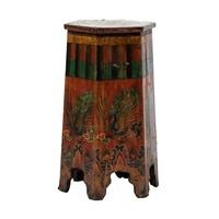 Antique Tibetan Plant Stand Handpainted Phoenix W45xD45xH81cm