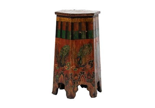Fine Asianliving Antique Tibetan Plant Stand Hand-painted Phoenix W45xD45xH81cm