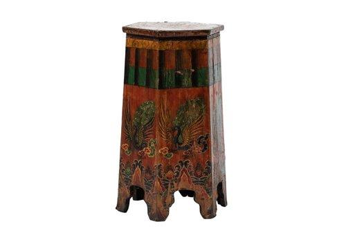 Fine Asianliving Soporte Plantas Tibetano Antiguo Pintado a Mano Phoenix Anch.45 x Prof.45 x Alt.81 cm