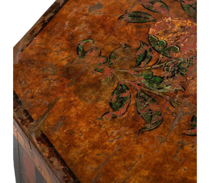 Antieke Tibetaanse Plantentafel Feniks Handgeschilderd B45xD45xH81cm