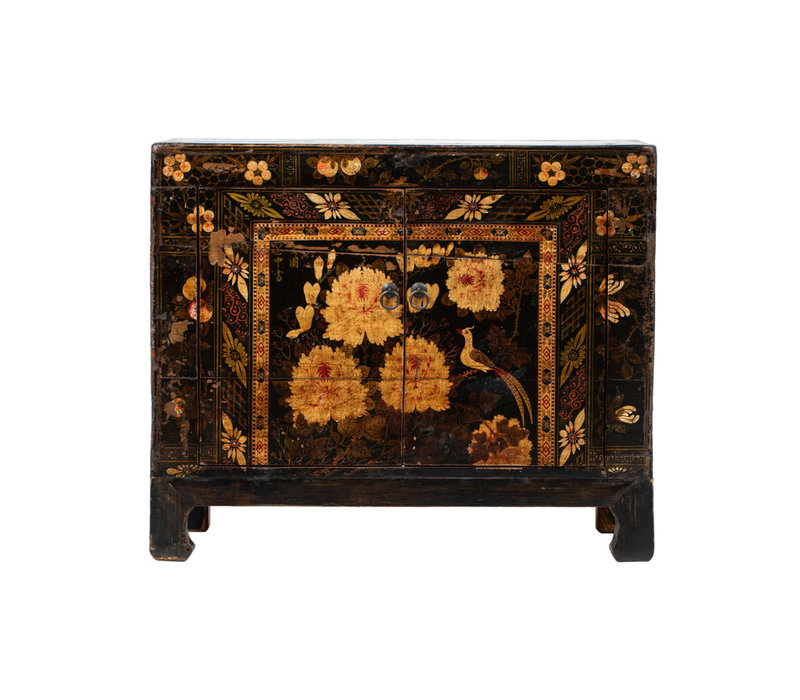 PREORDER 28/12/2020 Antique Chinese Cabinet Handpainted Peonies W83xD38xH72cm