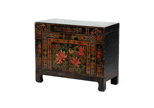Fine Asianliving Antique Chinese Cabinet Handpainted Lotus W86xD38xH70cm