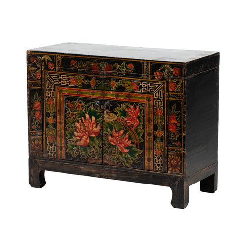 Fine Asianliving Antique Chinese Cabinet Hand-painted Lotus W86xD38xH70cm