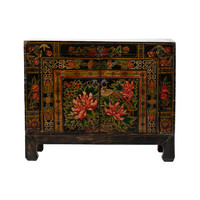 PREORDER 28/12/2020 Antique Chinese Cabinet Handpainted Lotus W86xD38xH70cm