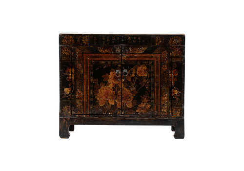 Fine Asianliving Antique Chinese Cabinet Handpainted Flowers W87xD39xH69cm