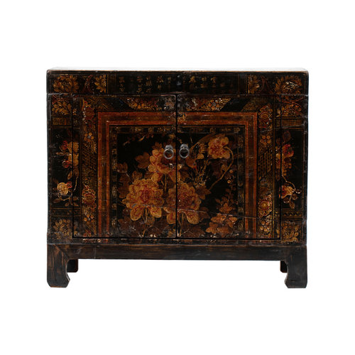 Fine Asianliving Antique Chinese Cabinet Hand-painted Flowers W87xD39xH69cm