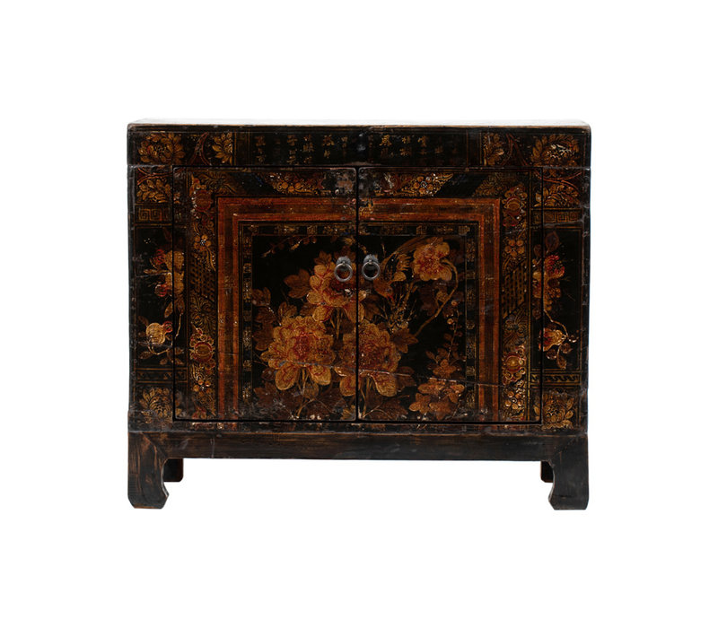 PREORDER 28/12/2020 Antique Chinese Cabinet Handpainted Flowers W87xD39xH69cm