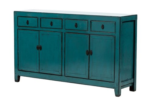 Fine Asianliving Antique Chinese Sideboard Glossy Teal W155xD40xH92cm