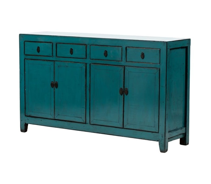 PREORDER 28/12/2020 Antique Chinese Sideboard Glossy Teal W155xD40xH92cm