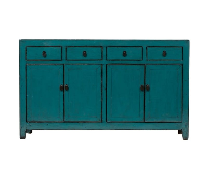Antique Chinese Sideboard Glossy Teal W155xD40xH92cm