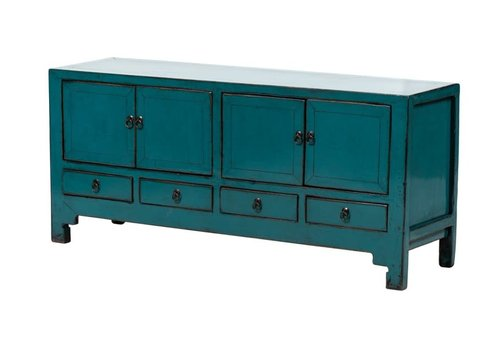 Fine Asianliving Antique Chinese TV Cabinet Glossy Teal W140xD40xH62cm
