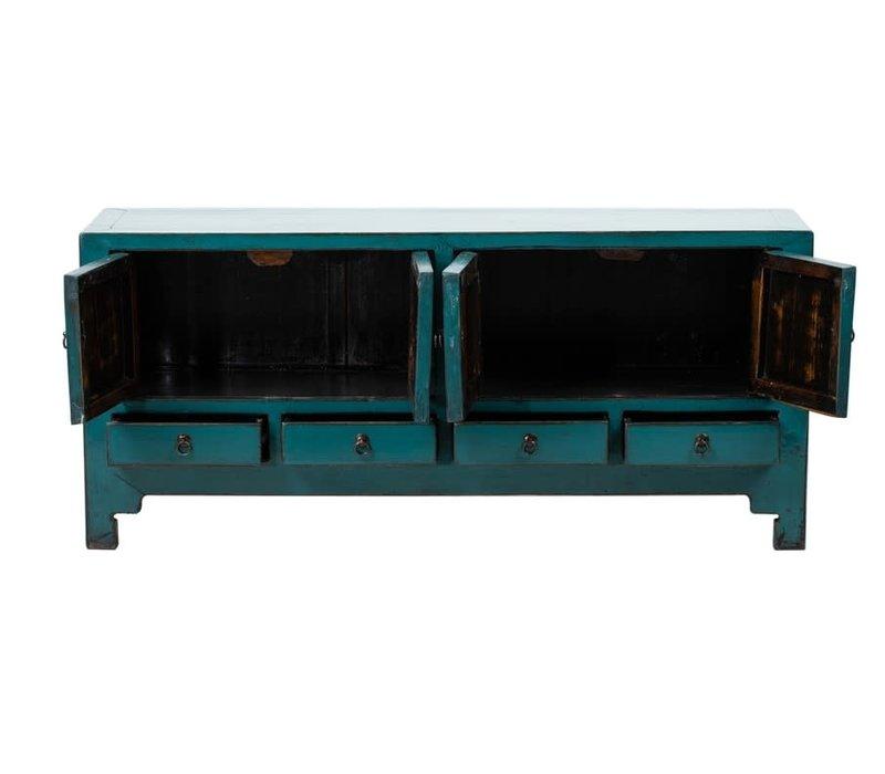 Antieke Chinese TV-meubel Glanzend Teal B140xD40xH62cm