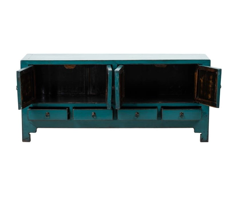 PREORDER 28/12/2020 Antique Chinese TV Cabinet Glossy Teal W140xD40xH62cm