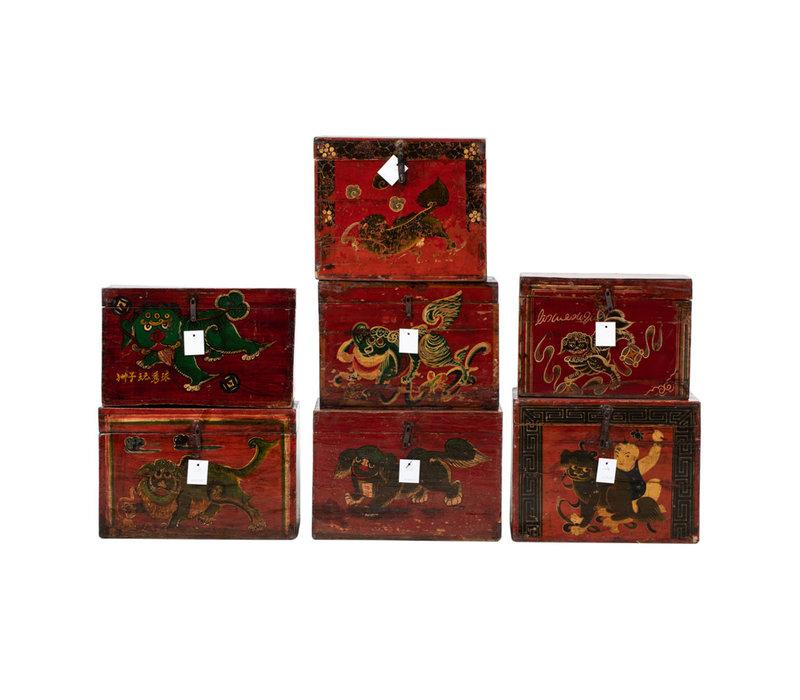 Antieke Chinese Kist Handgeschilderd