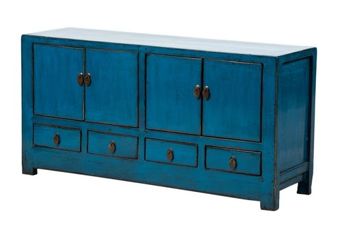 Fine Asianliving Mueble TV Chino Antiguo Azul Brillante A131xP39xA60cm
