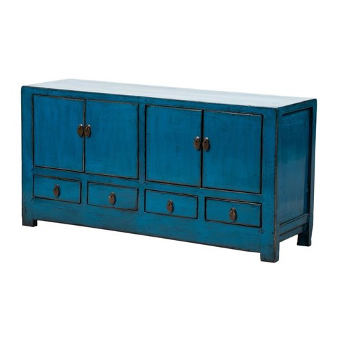 Fine Asianliving Antique Chinese TV Stand Glossy Blue W131xD39xH60cm