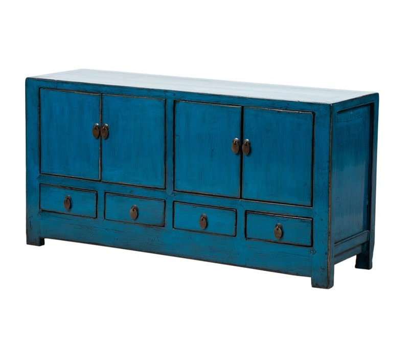 Antique Chinese TV Cabinet Glossy Blue W131xD39xH60cm