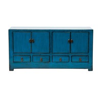 Antique Chinese TV Stand Glossy Blue W131xD39xH60cm