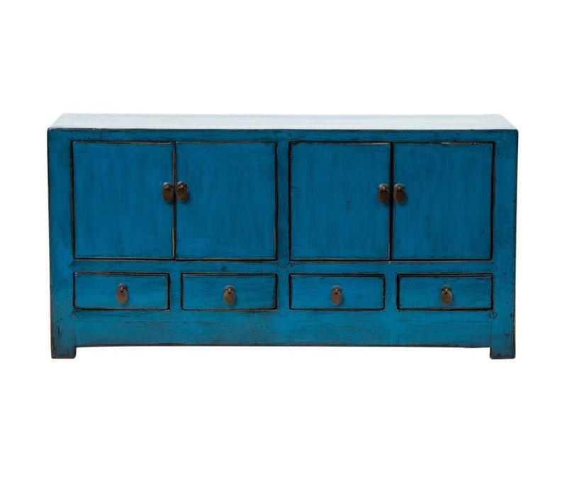 Antieke Chinese TV-meubel Glanzend Blauw B131xD39xH60cm