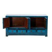 PREORDER 28/12/2020 Antique Chinese TV Cabinet Glossy Blue W131xD39xH60cm