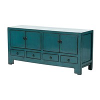 Antique Chinese TV Stand Glossy Teal W135xD39xH61cm