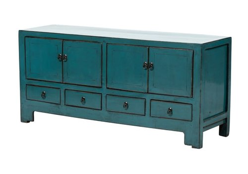 Fine Asianliving Antique Chinese TV Cabinet Glossy Teal W135xD39xH61cm