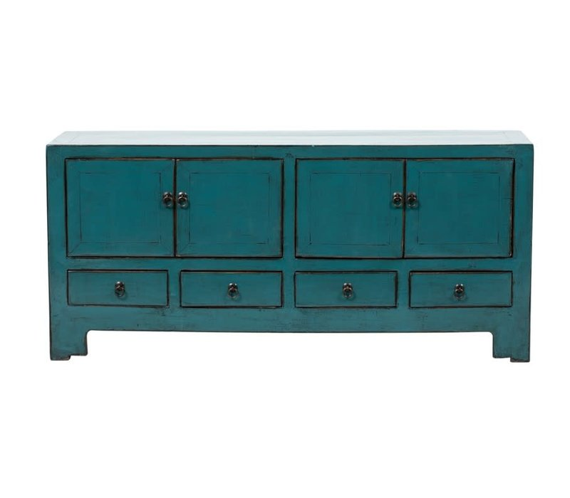 Antieke Chinese TV-meubel Glanzend Teal B135xD39xH61cm