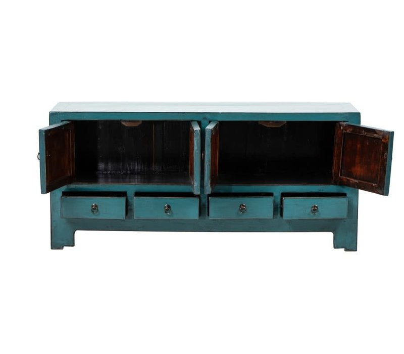 Antique Chinese TV Cabinet Glossy Teal W135xD39xH61cm