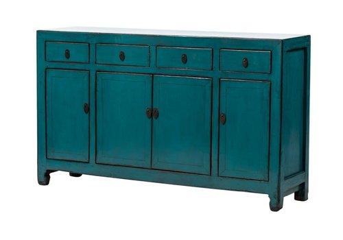 Fine Asianliving Antique Chinese Sideboard Glossy Teal W155xD40xH90cm