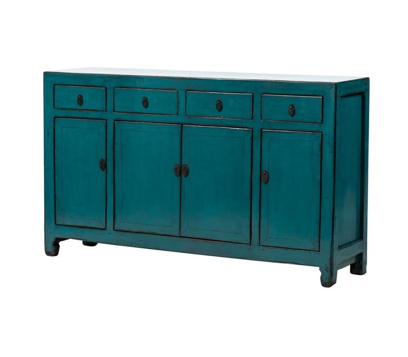 PREORDER 28/12/2020 Antique Chinese Sideboard Glossy Teal W155xD40xH90cm