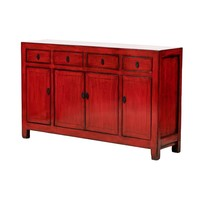 PREORDER 28/12/2020 Antique Chinese Sideboard Glossy Red W156x40xH92cm