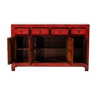 Antique Chinese Sideboard Glossy Red W156xD40xH92cm