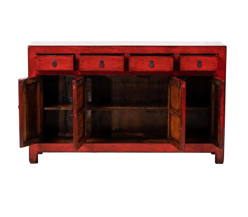 Credenza Cinese Antica Rossa L156xP40xA92cm
