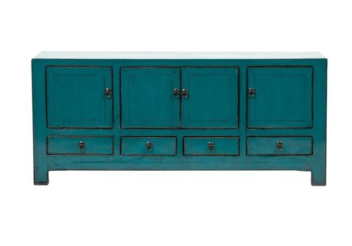 Fine Asianliving Antique Chinese TV Cabinet Glossy Teal W135xD40xH61cm